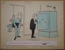 Dessin Ancien Illustration ANDRÉ HARVEC Scène Humoristique Coffre Fort Cigarette