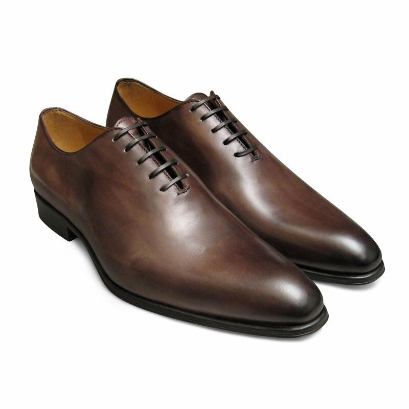 Men Bespoke Handmade Genuine braun Shaded Leather One Piece Lace-Up schuhe