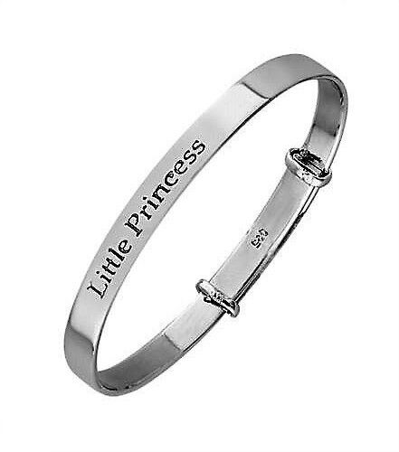 Christening Baby/'s or Child/'s Solid Silver Little Princess Bangle Handmade