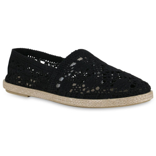 Damen Slipper Bast Espadrilles Spitzenstoff Freizeit Slip Ons 826336 Schuhe