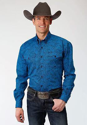 Stetson 1 Pkt Mens Blue 100/% Cotton Marble Paisley BD L//S Shirt