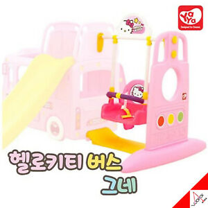 Details About Hello Kitty Bus 3 In 1 Swing Connected Climb Slide For Kids Outdoor Play Toy