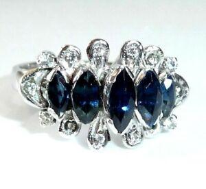 Ring in 18 Kt / 750 Weißgold mit 81 ct. weißen und blauen Saphiren Gr 56-57