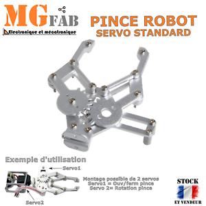 Kit pince robot métal alu 2 DOF   Gripper robotique MG995 Arduino PIC ARM STM