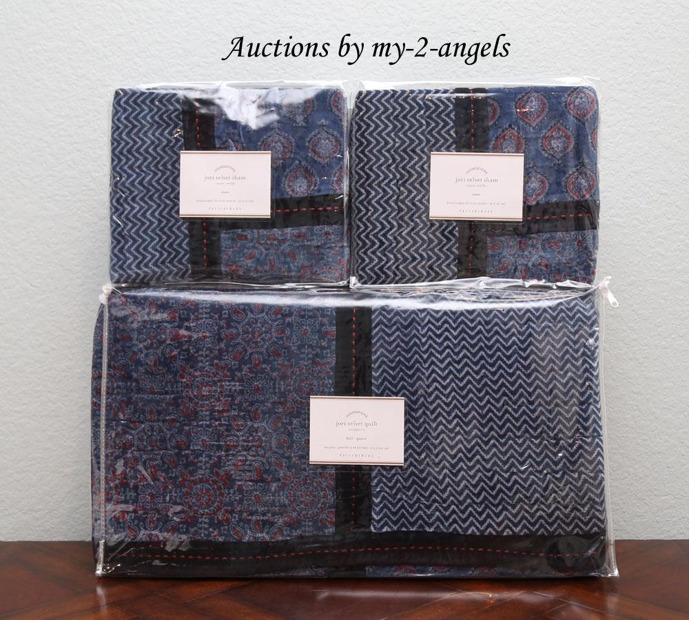 Pottery Barn JORI Cotton Velvet Patchwork F Q Quilt+2 Euro Shams Set Blau NLA