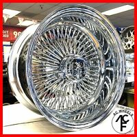 14x7 Reverse 100 Spoke Wire Wheels Straight Lace Chrome Rims (2pcs)