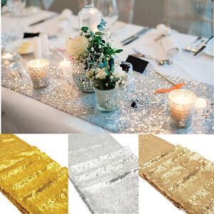 Plie-Edge-Gold-Glitter-Sequin-Table-Runner-12-034-x108-034-Brillant-Mariage-Fete-Deco