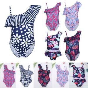Kids-Girls-Printed-One-Shoulder-Beach-Swimwear-Holiday-Tankini-Bathing-Swimsuit