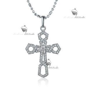 18k white gold gf made with swarovski crystal cross pendant necklace image is loading 18k white gold gf made with swarovski crystal aloadofball Choice Image
