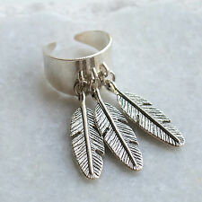 Feather Charm Ring Bohemian Adjustable Band Boho Urban Festival Outfitter