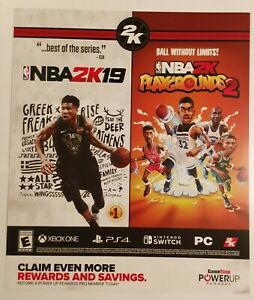 NBA-2K19-Playgrounds-2-Promo-Gamestop-Poster-Rare
