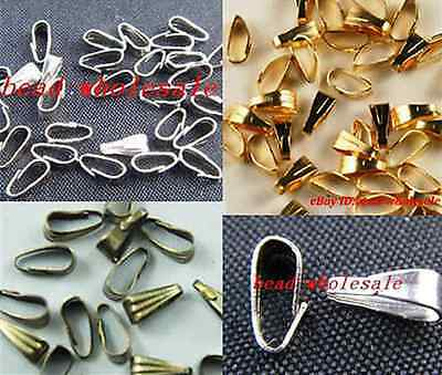 100Pc Silver/Gold/Bronze Tone Copper Necklace Bail Connectors For Jewelry Making