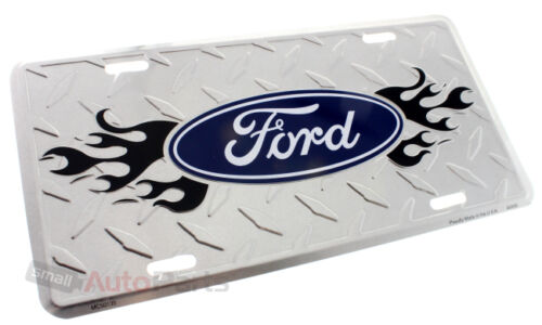 FORD LOGO LICENSE PLATE ALUMINUM CHROME DIAMOND STAMPED METAL AUTO//CAR//TRUCK TAG