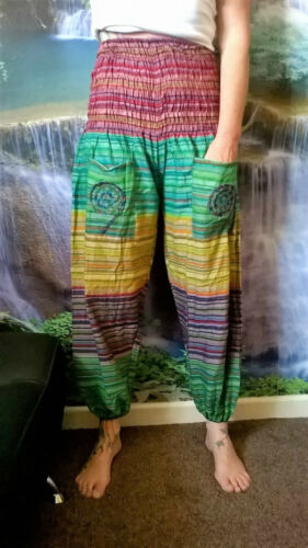 SPIRAL POCKET HI WAIST MULTI COLOUR HIPPY HAREM FESTIVAL ETHNIC BOHO PANTS SD22