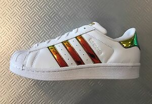 Adidas Superstar J Junior White Gold Green Iridescent Hologram CP9837 Shell Toe