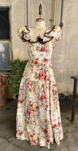 Antique 1930s Floral Rose Chintz Print Maxi Dress