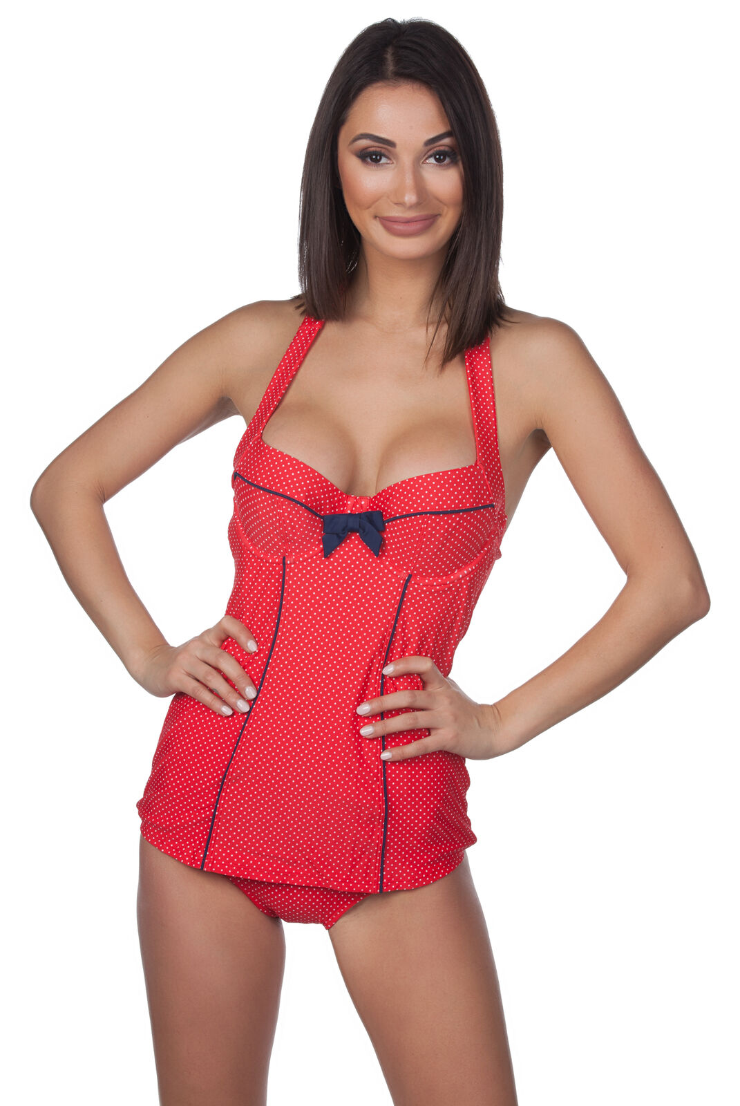 Panache Swim Retro Britt Halter Dotted Wired One-Piece Swimsuit