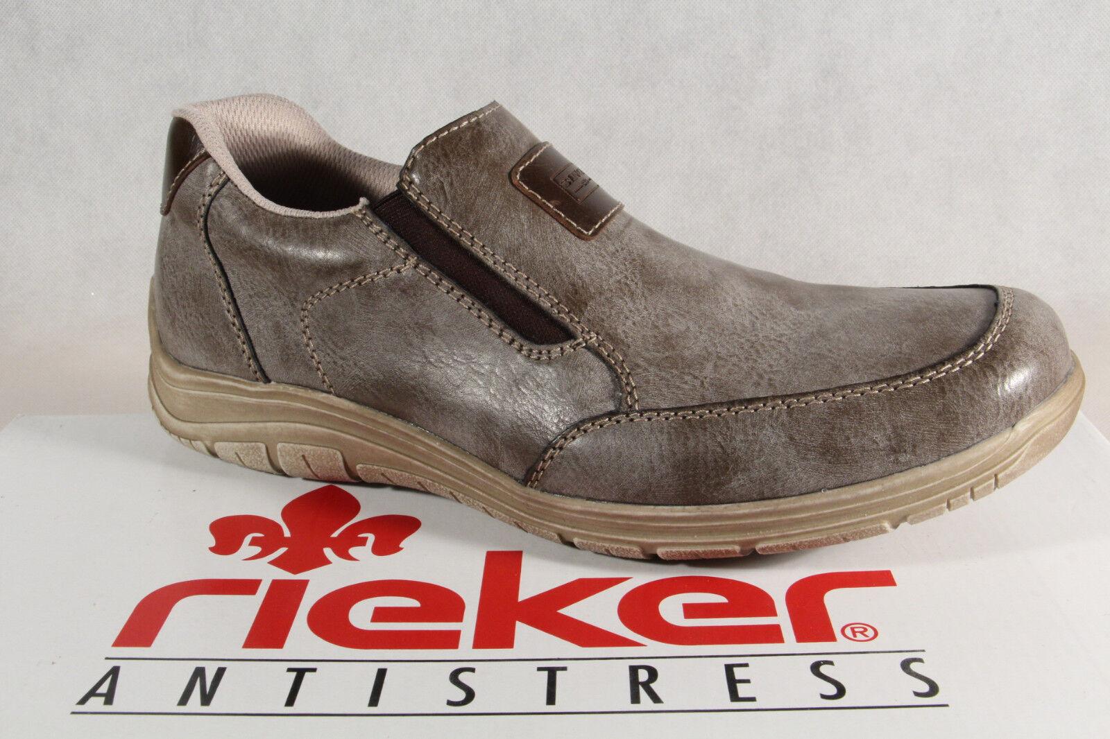 Rieker Slipper sneakers zapato bajo gris/marrón cuero suave suela interior nuevo