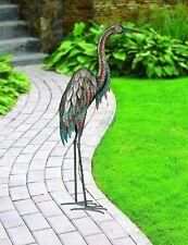 Heron Egret Patina Regal Art Statue Metal Stand Decor Garden Outdoor Home  Gift