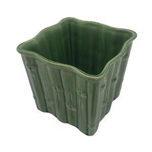 Vintage-Shawnee-Pottery-Green-Glazed-Bamboo-4055-USA-Square-Planter-Vase-Pot