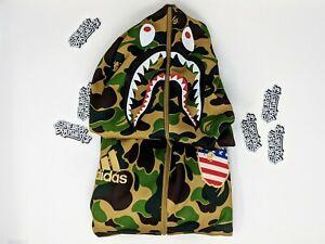 Details about Adidas x Bape A Bathing Ape Shark Hoodie BA SB Super Bowl Green Camo DW9286