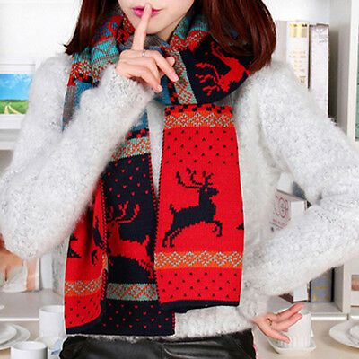 Women Christmas Deer Printed Knitted Scarf Warm Shawls Bohemia Cotton Scarves