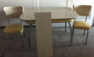 Details About Retro 1950s Kitchen Dining Table And Chairs Yellow Gray