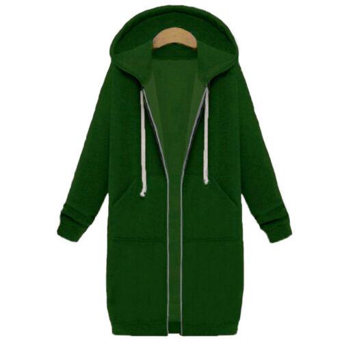 ZANZEA Women Winter Oversized Hooded Zip Coat Hoodie Fleece Jacket Long Outwear