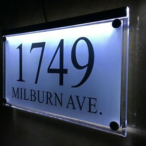 Details about Large Crystal effect House Sign Plaques Door Numbers Name  Plate Colors LED LIGHT