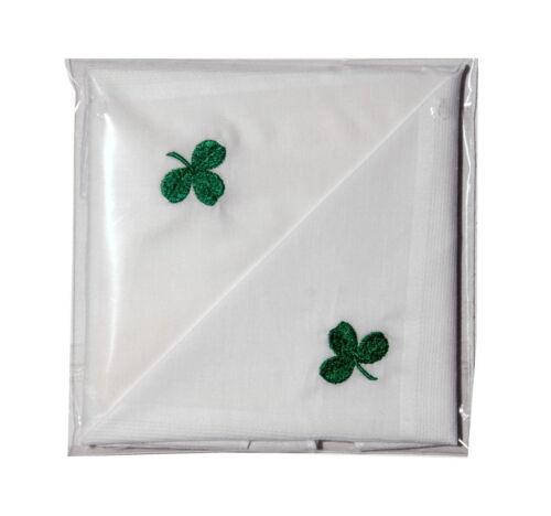Nouveau Homme 2 Pack Coton Mouchoir Avec Irlandais Shamrock IRLANDE Cadeau