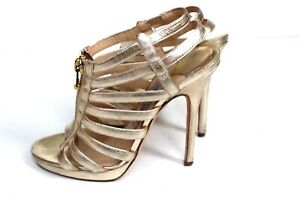 Jimmy-CHOO-gold-Glenys-Leder-Kaefig-Sandale-Heels-38-UK-5