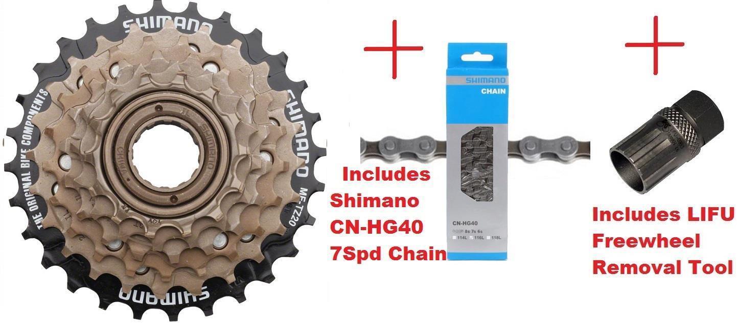 Shimano MF-TZ500 7Spd Multi-Freewheel 14-28t Screw-On Cluster +  Chain + Tool  100% free shipping
