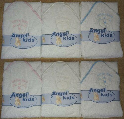 BABIES KIDS BABY COTTON SOFT PINK BLUE CREAM BEARS HOODED ROBE BATH TOWEL WRAP