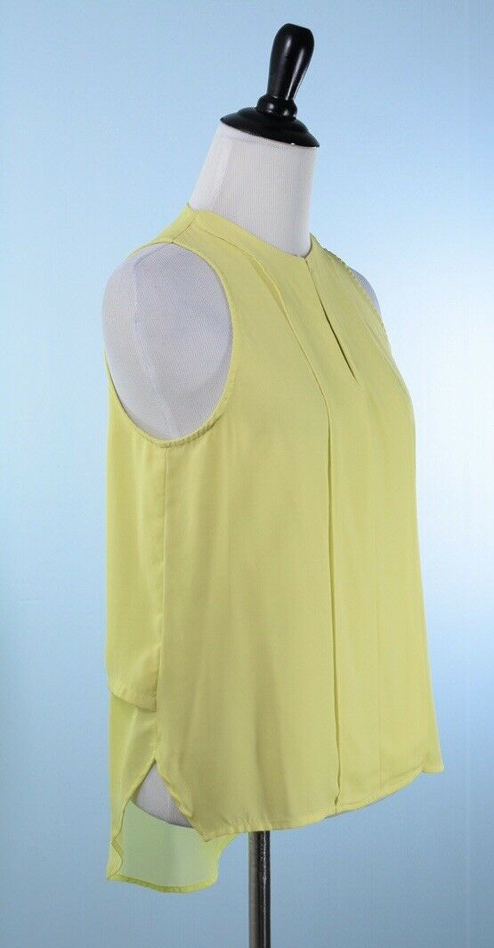 MAEVE  Lime Sleeveless Keyhole Front Asymmetrical Pleat Tunic Top Size 0