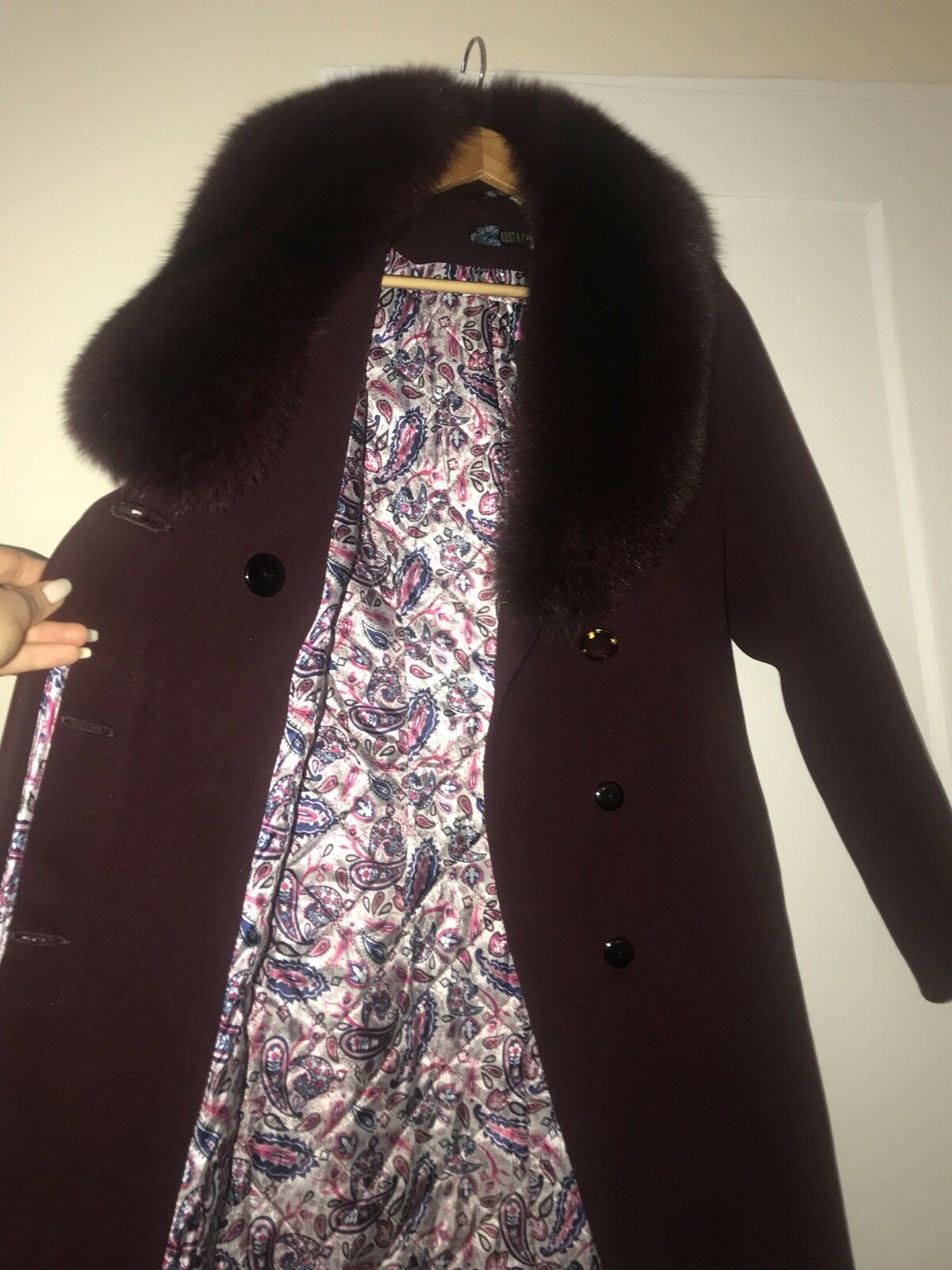 Women Classic Heated batting Fox FUR collar Burgundy Double Faced Faced Faced Wool Coat XS eca1ea
