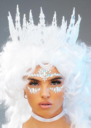 Damen Eiskönigin White Glitter Crown Headpiece