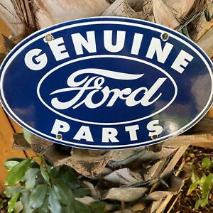VINTAGE-FORD-AUTO-PORCELAIN-METAL-SIGN-USA-GAS-OIL-SERVICE-STATION-MECHANIC-BLUE
