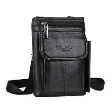 Men's Genuine Leather Messenger Shoulder Bag Belt Hook Hip Bum Fanny Waist Pack