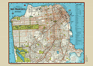 San Francisco 1940 Map Poster Vintage Golden Gate Mkt Street North