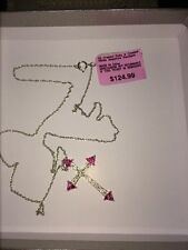 Sterling Silver Lab Created Ruby Cross Pendant Necklace Womens NIB $124.99