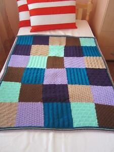 Hand Knitted Squares Afghan...Colorful Knitting Blanket ...