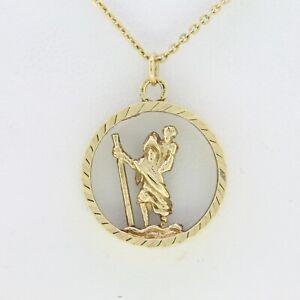 9ct Collar De Oro-Oro amarillo 9ct Vintage St. Christopher Colgante & Cadena