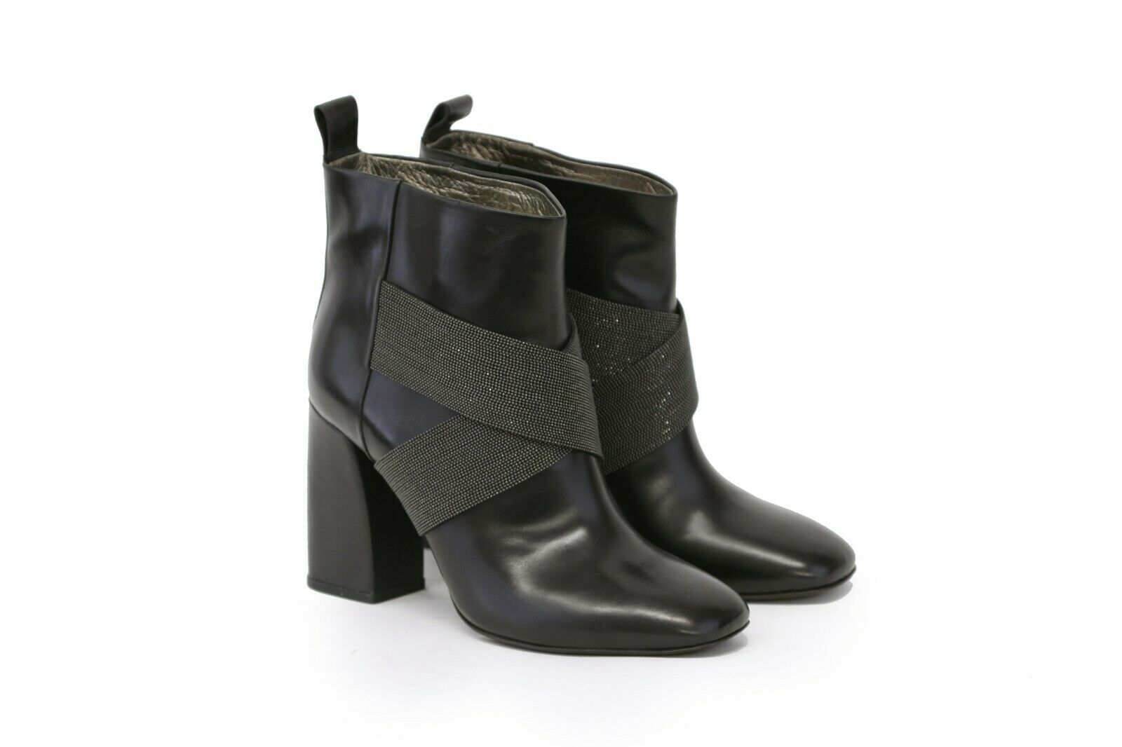 NWD  2895 Brunello Cucinelli 100%Leather X-Strap Beaded Ankle Booties37 7US A191