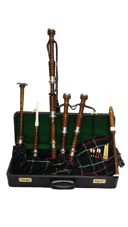 Scottish Bagpipe Rose Wood Natural Finish Metal Plain Mounts/Highland Bagpipes