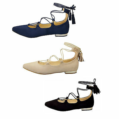 Hart Arbeitend New Womens Ladies Flat Ballerina Lace Up Bow Pointy Toe Summer Pumps Shoes Size