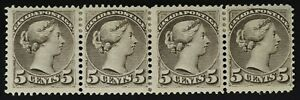 #42 Small Queen 5¢ Ottawa Printing strip of 4 M OG H F-VF -see descrip +all pics