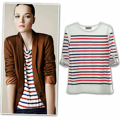 New navy blue red rolled up sleeves striped cotton jersey T shirt top