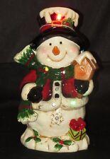 Lighted Flashing LED Porcelain Santa Figurine