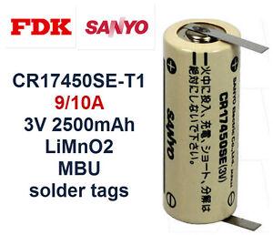 SANYO-FDK-CR17450SE-T1-9-10A-3V-2500mAh-LiMnO2-MBU-Lithium-Battery-solder-tags