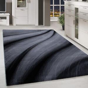 Details zu Kurzflor Teppich modern abstrakt Schatten Muster Wohnzimmer Grau  Schwarz Meliert